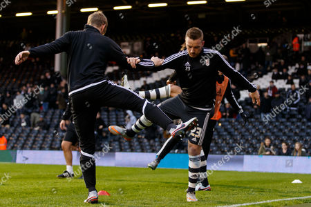 Jamie O?Hara of Fulham and his team warm up before the Sky Bet Championship match between Fulham and Sheffield Wednesday played at Craven Cottage, London on January 2nd 2016