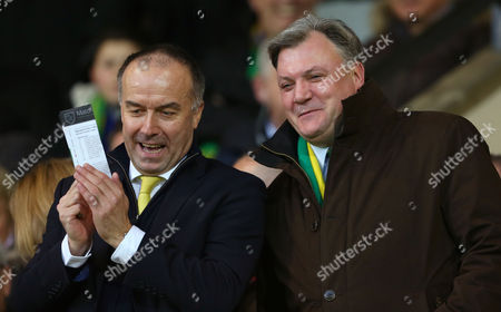 Chairman of Norwich City, Ed Balls with Norwich City chief executive, David McNally