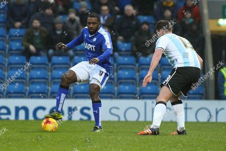 Chesterfield FC forward Sylvan Ebanks-Blake holds the ball up during the Sky Bet League 1 match between Chesterfield and Shrewsbury Town at the Proact stadium, Chesterfield