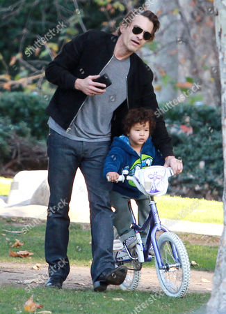 Editorial picture of Olivier Martinez and son Maceo Robert Martinez out and about, Los Angeles, America - 31 Dec 2015