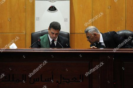 An Egyptian Judge attends the trial of ousted Egyptian president Mohammed Morsi, during the 'Qatar espionage' case