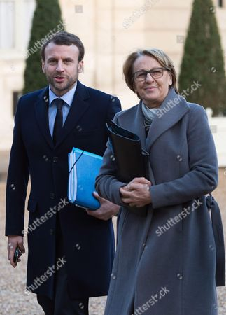 Stock Photo of French Economy and Industry minister Emmanuel Macron, Marylise Lebranchu and members of the French government arrive at the Elysee Palace for the weekly cabinet meeting