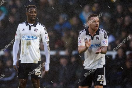 Moussa Dembele and Jamie O?Hara of Fulham during the Sky Bet Championship match between Fulham and Sheffield Wednesday played at Craven Cottage, London on January 2nd 2016