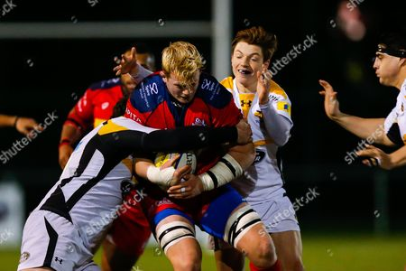 Bristol United Lock Adam Sinclair is tackled by Wasps A replacement Will Porter