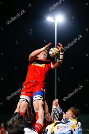 Bristol United Lock Adam Sinclair in action at a lineout