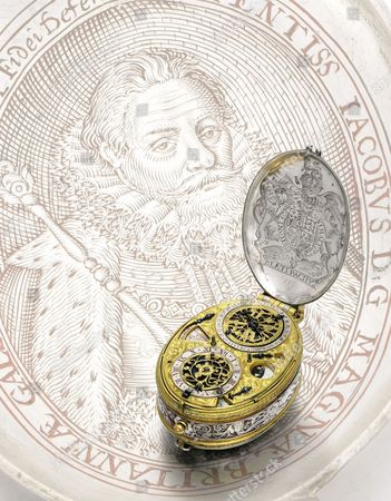 David Ramsay: A circa 1618 early silver and gilt-metal oval astronomical verge watch with portrait engraving of King James I sold for £989,000