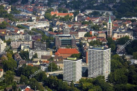 Maritim Hotel and Maritim high-rise residential building, Hans Sachs House and town hall, Gelsenkirchen, Ruhr district, North Rhine-Westphalia, Germany