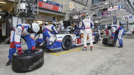 Stock Photo of Pitstop of Toyota TS 040, hybrid from Toyota Racing, JPN with drivers Alexander Wurz, AUT, Stephane Sarrazin, FRA, and Mike Conway, UK, Circuit de la Sarthe, Le Mans, France