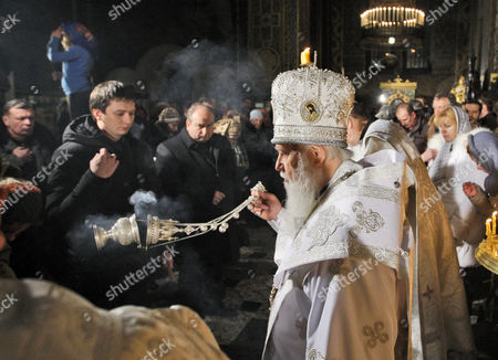 The Head of the Ukrainian Orthodox Church Patriarch Filaret, during the Orthodox Christmas Eve mass in St. Volodymyr Cathedral, Kiev