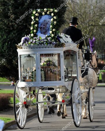 The coffin of Nanny Pat in a glass carriage pulled along by horses
