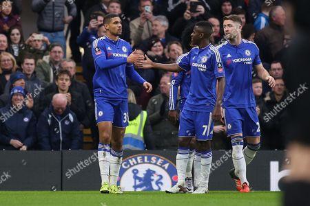 Ramires congratulates Ruben Loftus-Cheek after scoring Chelsea's second goal during Chelsea vs Scunthorpe United at Stamford Bridge