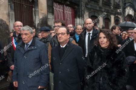 French President Francois Hollande and the children of late French president Francois Mitterrand, Gilbert Mitterrand and Mazarine Pingeot