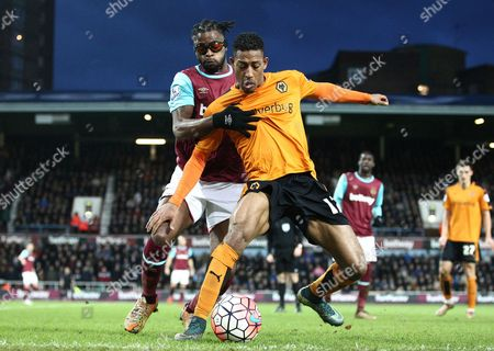 Alex Song battles with Rajiv van La Parra of Wolverhampton Wanderers  of West Ham United   during the Emirates FA Cup 3rd Round between West Ham United and Wolverhampton Wanderers    played at Boleyn Ground on 9th January 2016 in London
