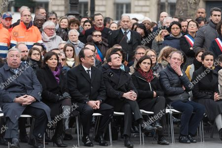 Gerard Larcher, Anne Hidalgo, Francois Hollande, Manuel Valls, Sandrine Mazetier, Bertrand Delanoe and Najat Vallaud-Belkacem.  French President, Francois Hollande, French Prime Minister, Manuel Valls and Paris Mayor Anne Hidalgo, members of the French government and Johnny Hallyday attend a commemorative ceremony