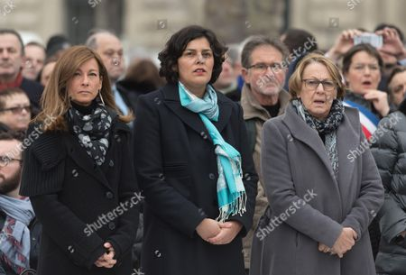 Anne Gravoin, Myriam El Khomri and Marylise Lebranchu.  French President, Francois Hollande, French Prime Minister, Manuel Valls and Paris Mayor Anne Hidalgo attend a commemorative ceremony held for the victims of Charlie Hebdo shootings, in Paris's Place de la Republique