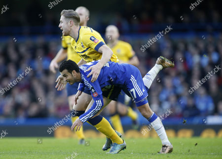 Ramires of Chelsea and Kevin Van Veen of Scunthorpe United during the The Emirates FA cup third round match between Chelsea and Scunthorpe United  played at Stamford Bridge, London on 10th January 2016