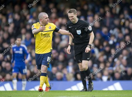 Stephen Dawson of Scunthorpe appeals to referee Craig Pawson for a penalty following Ramires of Chelsea tackle on Kevin van Even of Scunthorpe during the Emirates FA Cup Third Round match between Chelsea and Scunthorpe United played at Stamford Bridge, London on January 10th 2016