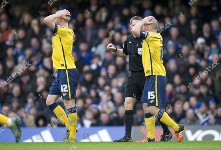 Neil Bishop and Stephen Dawson of Scunthorpe appeals for a penalty following Ramires of Chelsea tackle on Kevin van Even of Scunthorpe during the Emirates FA Cup Third Round match between Chelsea and Scunthorpe United played at Stamford Bridge, London on January 10th 2016