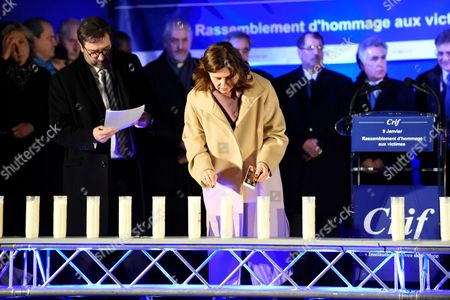 Ambassador of Israel in France Aliza Bin Noun being pictured during the Paris One Year Remembrance's Ceremony of the Hyper Cacher's attack while lighting a candle in the memory of the 4 Victims (Yohav Hattab, Yohan Cohen, Philippe Braham et FranÂ?ois-Michel Saada)
