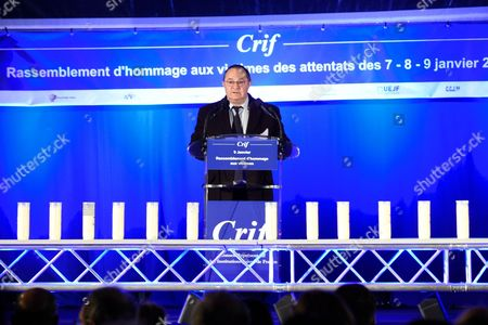 Ariel Goldmann being pictured during the Paris One Year Remembrance's Ceremony of the Hyper Cacher's attack