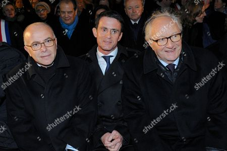 Bernard Cazeneuve, Manuel Valls and Roger Cukierman being pictured during the Paris One Year Remembrance's Ceremony of the Hyper Cacher's attack