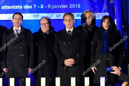 Manuel Valls, Roger Cukierman, Nicolas Sarkozy, Valerie Pecresse and Anne Hidalgo being pictured during the Paris One Year Remembrance's Ceremony of the Hyper Cacher's attack