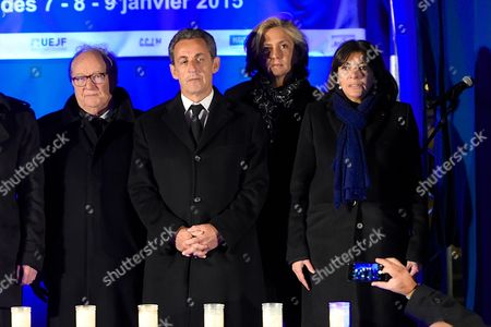 Roger Cukierman, Nicolas Sarkozy, Valerie Pecresse and Anne Hidalgo being pictured during the Paris One Year Remembrance's Ceremony of the Hyper Cacher's attack