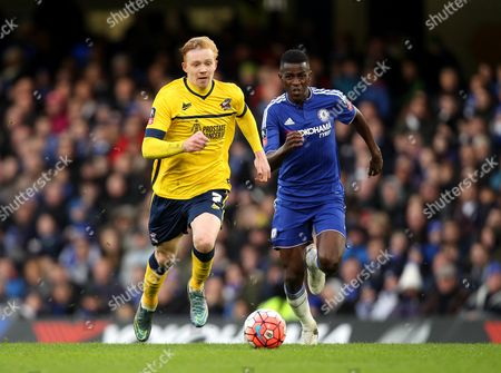 Luke Williams of Scunthorpe United gets away from Ramires of Chelsea