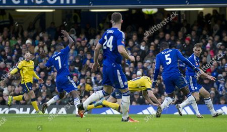 Kevin van Even of Scunthorpe is tackled by Ramires of Chelsea and Scunthorpe appeal for a penalty during the Emirates FA Cup Third Round match between Chelsea and Scunthorpe United played at Stamford Bridge, London on January 10th 2016