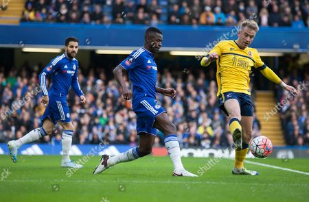 Kevin van Even of Scunthorpe United is pressured by Ramires of Chelsea, FA Cup Third Round, Stamford Bridge, London, Britain, 10th January 2016