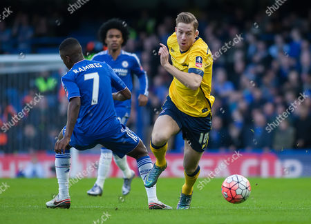 Kevin van Even of Scunthorpe United slips past Ramires of Chelsea, FA Cup Third Round, Stamford Bridge, London, Britain, 10th January 2016