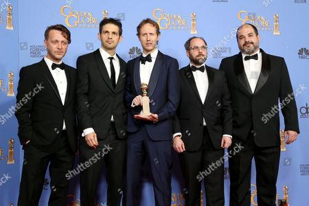 Levente Molnar, Geza Rohrig, director Laszlo Nemes, producers Gabor Sipos and Gabor Rajna