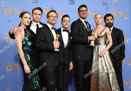 Carly Chaikin, Martin Wallstrom, Christian Slater, Rami Malek, Sam Esmail, Portia Doubleday and Chad Hamilton