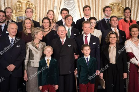 Stock Photo of Archduke Christian, Archduchess Marie Astrid of Austria, Grand Duke Jean of Luxembourg, Grand Duke Henri of Luxembourg, Prince Noah, Prince Gabriel, Princess Alexandra, Prince Louis of Luxembourg and  pose for the photographers during festivities for the 95th birthday of Grand Duke of Luxembourg at the Grand Ducal Palace in Luxembourg