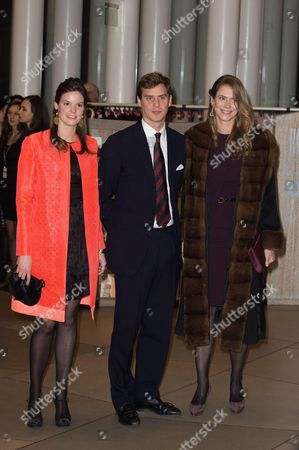 Princess Marie Astrid, Prince Joseph Emmanuel and Princess Maria-Annunciata of Liechtenstein attend a celebration on the 95th anniversary of Grand Duke of Luxembourg at the Luxembourg Philharmonic Orchestra