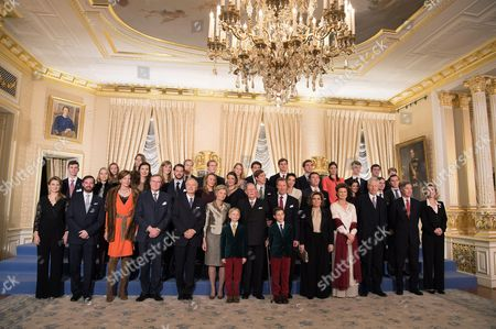 Crown Princess Stephanie, Crown Hereditary Grand Duke Guillaume of Luxembourg, Princess Diana, Prince Jean, & Archduke Christian, Archduchess Marie Astrid of Austria, Grand Duke Jean of Luxembourg   Grand Duke Henri of Luxembourg, Prince Noah, Prince Gabriel, Grand Duchess Maria Teresa of Luxembourg, Princess Margaretha of Liechtenstein and Prince Nicolas of Liechtenstein, Hereditary Grand Duke Guillaume of Luxembourg, Princess Sibylla, Prince Hassan bin Talal of Jordan Sarvath & Princess, Princess Maria of Liechtenstein, Princess Maria of Liechtenstein Annunc Kathleen Austria, Imre of Austria, Princess Alexandra, Prince Louis of Luxembourg, Princess Tessy of Luxembourg, Prince Sebastian, Ms. Fruchaud Adelaide of Austria, Christophe Austria, Paul-Louis of Nassau, Nassau Johann Carl Alexander of Austria, Charlotte Nassau, Nassau Maria Gabriel, Marie-Christine De Limburg Stirum, Rodolphe De Limburg-Stirum, Joseph of Liechtenstein, Wenceslas of Nassau, Astrid of Liechtenstein, Constantine Nassan, Anne-Gabrielle of Austria, Leopold Nassan Jean Nassau, Gabrielle of Austria, Charles Fabribecker, Line Anne, Antonia Holstein-Ledreborg & Catherina Austria pose for the photographers during festivities for the 95th birthday of Grand Duke of Luxembourg at the Grand Ducal Palace in Luxembourg