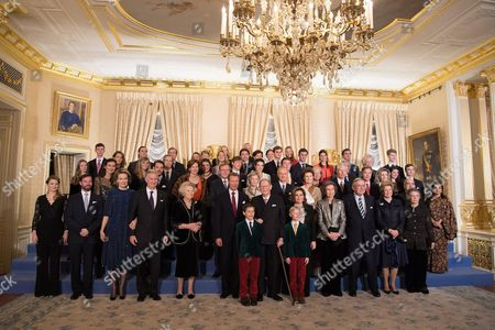 Crown Princess Stephanie, Hereditary Prince William, King Philip and Queen Mathilde of Belgium, Princess Beatrix of the Netherlands, Grand Duke Henri of Luxembourg, Grand Duke Jean of Luxembourg, Grand Duchess Maria Teresa of Luxembourg, Project Suite Queen of Spain, King Constantine Greece, Queen Anne-Marie, Princess Irene of Greece,  Princess Claire, Prince Felix, Princess Diana, Prince Jean, Archduchess Marie Astrid & Christian Archduke of Austria, Princess Margaretha of Liechtenstein and Prince Nicolas of Liechtenstein, Prince William, Princess Sibylla, Prince Hassan bin Talal of Jordan Sarvath & Princess, Princess Maria of Liechtenstein Annunc Kathleen Austria, Imre of Austria, Princess Alexandra, Prince Louis of Luxembourg, Princess Tessy of Luxembourg, Prince Sebastian, Ms. Fruchaud Adelaide of Austria, Christophe Austria, Paul-Louis of Nassau, Nassau Johann Carl Alexander of Austria, Charlotte Nassau, Nassau Maria Gabriel, Marie-Christine De Limburg Stirum, Rodolphe De Limburg-Stirum, Joseph of Liechtenstein, Wenceslas of Nassau, Astrid of Liechtenstein, Constantine Nassan, Anne-Gabrielle of Austria, Leopold Nassan Jean Nassau, Gabrielle of Austria, Charles Fabribecker, Line Anne, Antonia Holstein-Ledreborg & Catherina Austria pose for the photographers during festivities for the 95th birthday of Grand Duke of Luxembourg at the Grand Ducal Palace in Luxembourg