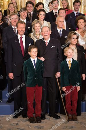 Grand Duke Henri of Luxembourg, Grand Duke Jean of Luxembourg, Prince, Noah, Prince Gabriel, Grand Duchess Maria Teresa of Luxembourg, Archduchess Marie Astrid & Christian Archduke of Austria, Prince Louis of Luxembourg, Princess Tessy of Luxembourg and Prince Sebastian, pose for the photographers during festivities for the 95th birthday of Grand Duke of Luxembourg at the Grand Ducal Palace in Luxembourg
