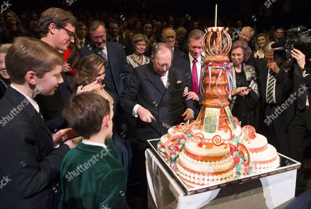Grand Duke Jean of Luxembourg, Grand Duke Henri of Luxembourg, Grand Duchess, Maria Teresa, Former Queen Sofia of Spain, King Constantine, Prince Jean of Luxembourg, Austrian Princess Marie Astrid and Archduke Carl Christian pose during a celebration on the 95th anniversary of Grand Duke Jean of Luxembourg of Luxembourg at the Luxembourg Philharmonic Orchestra