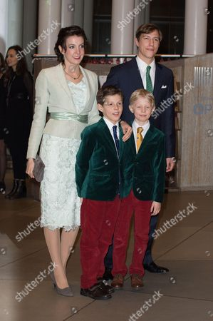 Prince Louis of Luxembourg, Princess Tessy of Luxembourg, Prince Noah and Prince Gabriel of Luxembourg attend a celebration on the 95th anniversary of Grand Duke of Luxembourg at the Luxembourg Philharmonic Orchestra