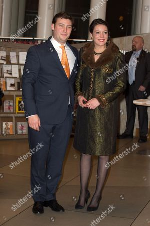 Prince Sebastien of Luxembourg and Princess Alexandra of Luxembourg attend a celebration on the 95th anniversary of Grand Duke of Luxembourg at the Luxembourg Philharmonic Orchestra