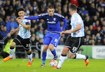 Federico Macheda of Cardiff City in action against Shrewsbury Town