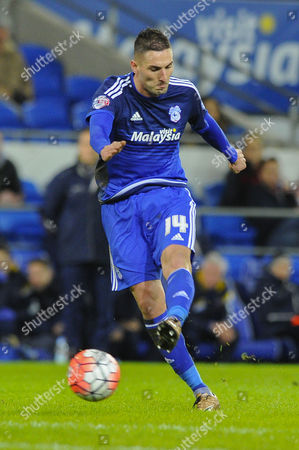 Federico Macheda of Cardiff City takes a shot at goal