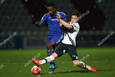 Fankaty Dabo of Chelsea U21 and  William Miller of Tottenham U21 during Tottenham Hotspur U21 vs Chelsea U21 at the Lamex Stadium