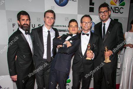 Martin Wallstrom, Rami Malek, Christian Slater, Sam Esmail and guest