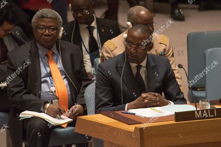 Malian Foreign Minister Abdoulaye Diop listens as the Under-Secretary-General for Peacekeeping delivers his report.