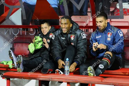 The AFC Bournemouth bench with  Juan Iturbe left, Sylvain Distin middle and Lewis Grabban right during AFC Bournemouth vs West Ham United at the Vitality Stadium