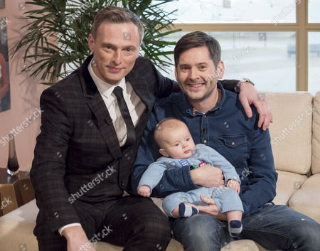 Matt Coyne with his 3 month old son Charlie and Martin Daubney.
