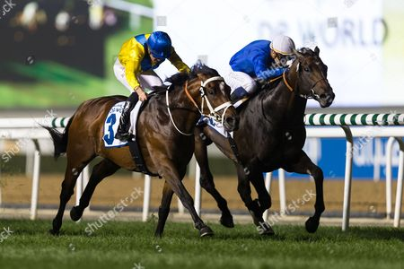 Forries Waltz under Christophe Soumillon wins the 8f Fujairah Container Terminal Handicap race, Meydan, Dubai, UAE.