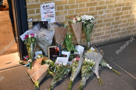 Flowers and tributes left for the late actor at Harry Potter, Platform 9 3/4 at Kings Cross